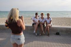 Fans allemandes avant leur match de football de coupe du monde pendant leurs vacances en Majorque Photos stock