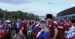Fans antes del partido de fútbol metrajes