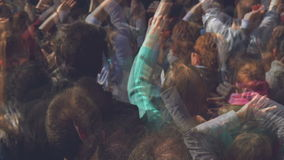 Fans Applauding To Music Band for Live Performing a Concert on Stage in Open Arena stock footage