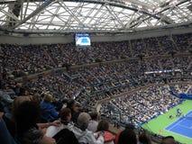Ashe Stadium - US Open Tennis. Fans at Arthur Ashe Stadium for a 2017 U.S. Open tennis match, Nadal vs. Rublev Stock Photos
