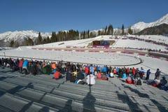 Fans auf dem Skistadion in Sochi Lizenzfreies Stockbild