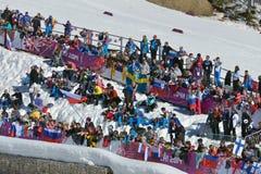 Fans auf dem Skistadion in Sochi Stockbild