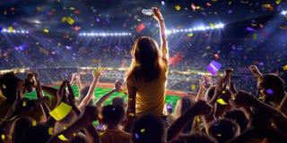 Fans auf Stadionsspiel-Panoramaansicht stockfotos
