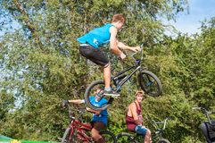 Fans of bike trial Stock Images