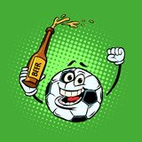 Fans with a bottle of beer. Football soccer ball. Funny characte. R emoticon sticker. Sport world championship competition. Comic cartoon pop art retro vector Royalty Free Stock Photography