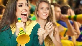 Fans brasileñas, fútbol Imágenes de archivo libres de regalías