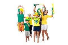 Fans brasileños que celebran Foto de archivo libre de regalías