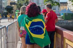 Fans of Brazil during the 2018 FIFA World Cup Russia. Recife, Pernambuco, Brazil - June 22, 2018: Fans of Brazil watching the match between the 2018 FIFA World Stock Images