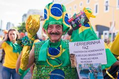 Fans of Brazil during the 2018 FIFA World Cup Russia. Recife, Pernambuco, Brazil - June 22, 2018: Fans of Brazil watching the match between the 2018 FIFA World Royalty Free Stock Image