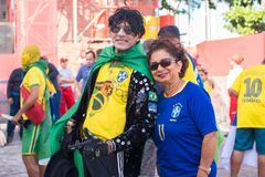Fans of Brazil during the 2018 FIFA World Cup Russia. Recife, Pernambuco, Brazil - June 22, 2018: Fans of Brazil watching the match between the 2018 FIFA World Stock Photography