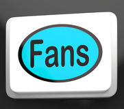 Fans Button Shows Follower Or Internet Fan Stock Images