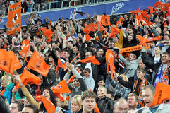 Fans celebrate a goal Stock Photo