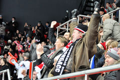 Fans celebrate a goal Royalty Free Stock Images