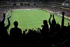 Fans celebrating goal. Silhouettes of fans celebrating a goal on football / soccer match Royalty Free Stock Images