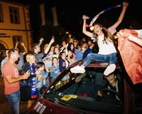 Fans celebrating qualification victory of France for final FIFA Stock Images