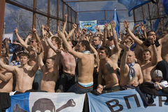 Fans at the championship of Russia on football stock photography