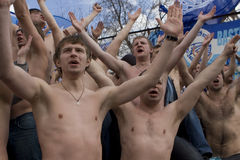 Fans at the championship of Russia on football Royalty Free Stock Photos