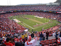 Fans cheer as 49ers celebrate win on field Royalty Free Stock Image