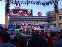 Fans cheer as WWE Wrestler John Cena enters the stadium with Rus Stock Photo