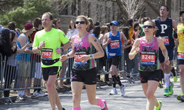 Fans cheer runners in Boston Marathon 2014 Stock Photos