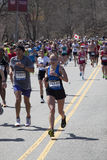 Fans cheer runners in Boston Marathon 2014 Royalty Free Stock Photos