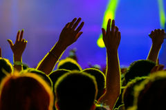 Fans cheering at open air live concert Stock Image