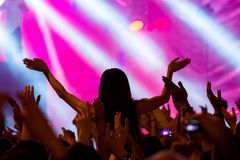 Fans cheering at open air live concert Stock Photo