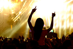 Fans cheering at open-air live concert. Stock Images