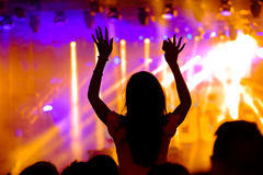 Fans cheering at open-air live concert. Stock Image