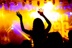 Fans cheering at open-air live concert. Royalty Free Stock Images