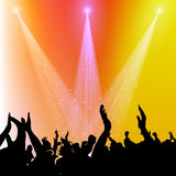 Fans Cheering. Vector illustration of music fans cheering silhouette on colorful background Stock Image