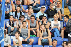 Fans of Chernomorets wearing vests Stock Images