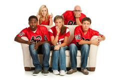Fans: Concerned Fans Watching Football Game Stock Images