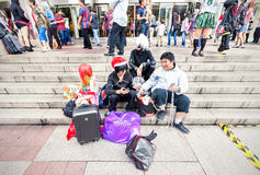 Fans in costumes waiting for opening the 2014 Comic Fiesta. Royalty Free Stock Image