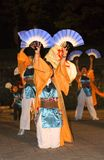 Fans dance. During a night Japanese festival-Yasokoi Matsuri,Sendai,autumn Stock Photos