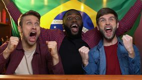 Fans de deportes con la bandera del Brasil que apoya al equipo nacional, feliz sobre la victoria del partido almacen de video