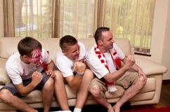 Fans de deportes emocionadas fotos de archivo libres de regalías