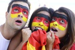 Fans de foot allemands étonnés de sport. Image stock