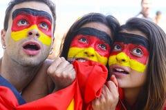 Fans de foot allemands étonnés de sport. Photo libre de droits