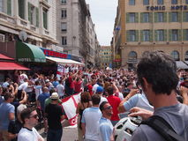 Fans de l'Angleterre à Marseille Photos libres de droits