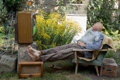 Fans de sommeil de TV Images libres de droits