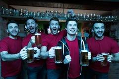 Fans de sports célébrant et encourageant devant la bière potable de TV à la barre de sports Photo libre de droits