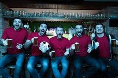 Fans de sports célébrant et encourageant devant la bière potable de TV à la barre de sports Image stock