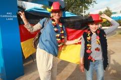 Fans de tenis alemanas antes del partido final de las mujeres en Abierto de Australia 2016 Foto de archivo libre de regalías