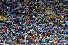 The fans of the Dnepr raise scarves Stock Photo