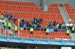 Fans of Dnepr on their stand Royalty Free Stock Image