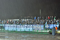Fans of Dnipro team on the sector Royalty Free Stock Photo