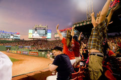 Fans do the wave at Fenway Park Royalty Free Stock Photos