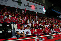 Fans of Donbass (Donetsk). Donetsk SEPTEMBER 6: Ice hockey, the game of Ukraine and Slovakia Royalty Free Stock Image