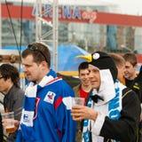 Fans eslovacas cerca de la arena de Minsk Fotografía de archivo libre de regalías